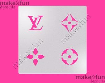 Lv Designer Logo Stencil for chocolate covered Oreos, Cookie Stencil, Designer, Pochoir, Airbrush stencil, Torten Schablone