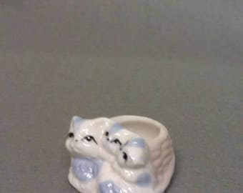 White Cats with Blue Grey and Black Eyes Cat Tooth Pick Holder