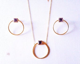 Necklace with Amethyst circle