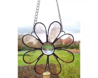 Handmade stained glass light pink flower decoration gift