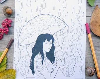 Printable coloring sheet, adult coloring page, girl illustration, coloring illustration, hand drawn girl, raindrawing, coloring art