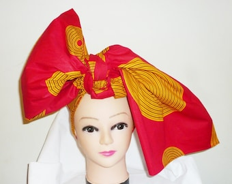 Red and Gold Record Ankara Head wrap, DIY head tie, Stylish African head scarf, Fabric hair accessory – Made to Order