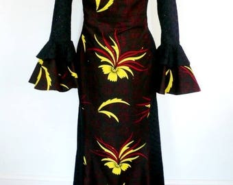 Burgundy Ankara and Black Lace Maxi Dress, Ladies' Long Dress, African Wax Dress, Formal Evening Dress - Made to Order
