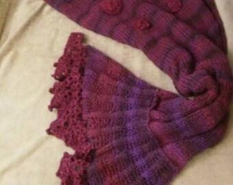 Purple Mermaid Tail Blanket Handmade