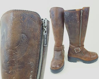 Vintage Harley Davidson Riding Motorcycle Boots sz 5.5 distressed leather retro biker tall pull on
