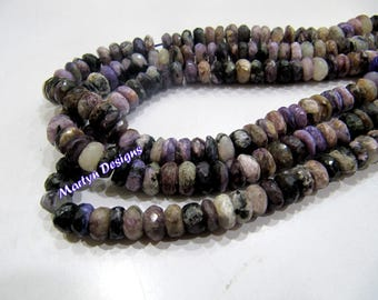 Top and Finest Quality Natural Charolite Beads / Rondelle faceted Beads Size 7-8mm / Sold per Strand of 10 Inches Long/ Rarest GemStone