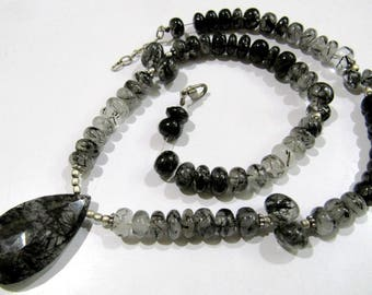Best Quality Natural Black Rutile Necklace , Rondelle Smooth and Briolette Beads , Handmade Beaded Necklace 16-17 inches- Gemstone Jewelry.
