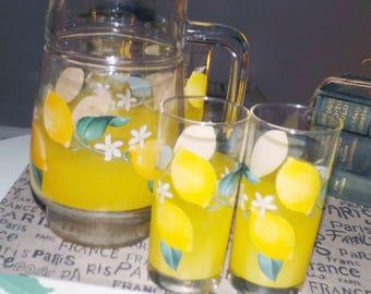 Vintage (c.1970s) Arcopal France Lemonade pitcher and 6 glasses.  Etched-glass imagery.  SUPERB!