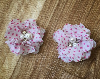Pink polka dot Baby Girl Hair Clips, flower hair clips, baby hair clips, polka dot, hair clips, flower, pink and white polka dots