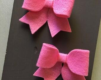 Pink Baby Girl Bow Hair Clips, bow hair clips, baby hair clips, pink, hair clips, bow, felt bow hair clip, felt bow