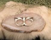 Double Petra Ring - Smokey Quartz Inlay