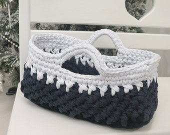 Crochet oval Basket - nursery basket - toy basket storage wite with gray  box