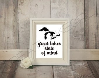 Great Lakes State of Mind Art Print - Great Lakes Print - Great Lakes Michigan Print