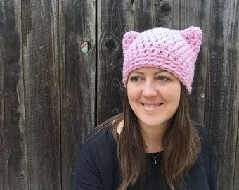 Pussyhat, Pink Pussy Hat, Pink Pussycat Hat, Pussyhat Project, Pink Cat Hat, Womens March On Washington, Womens Crochet Cat, Cat Beanie