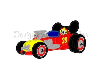 "Mr Mouse racing car applique machine embroidery design- 3 sizes 4x4"", 5x7"", 6x10"""