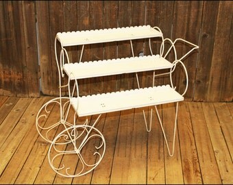 Mid Century Modern Plant Stand Cart white shelf planter metal vintage wire tier tea rolling utility outdoor