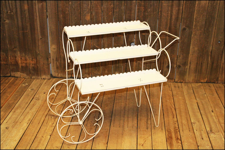 mid century modern plant stand cart white shelf planter metal. Black Bedroom Furniture Sets. Home Design Ideas