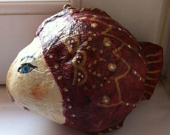 Fish paper mache art sculpture
