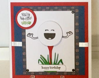 Handmade Golf birthday card.