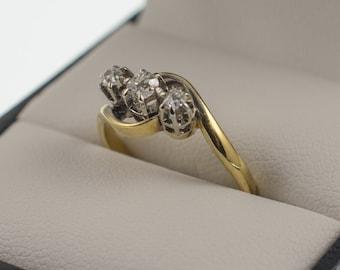 Diamond Trilogy Ring 18Ct & Platinum - Three Stone Diamond Twist, Vintage Diamond Ring, Ring Size K
