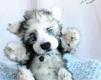 SOLD Realistic Husky puppy Teddy Bear friend dog OOAK Husky puppy Silva