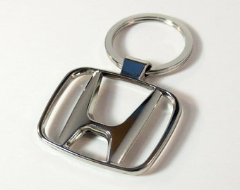 HONDA Keychain With Box Steel Solid Chrome Stainless Metal