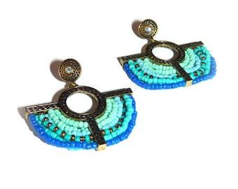 """""""Aztec"""" Bohemian earrings blue seed beads - earrings unique ethnic-piece bronze"""
