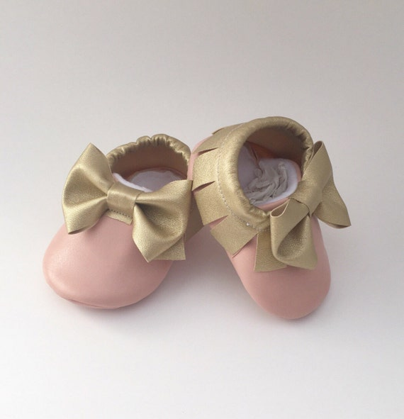 pink baby shoes gold baby moccs pink and gold baby shoes