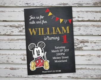 Mickey Mouse Chalkboard birthday party invitation , Digital Printable Mickey Mouse Invite, DIY Mickey Mouse Party Invitation  DIGITAL FILE