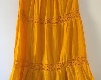 Mexican yellow long skirt