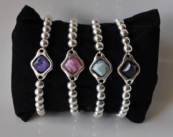 Stone resin and balls zinc alloy bracelet