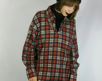 "Vintage 1960s Plaid Mock Flannel Pullover Turtle Neck size M (bust 48"")"
