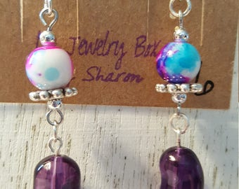 Jelly Bean Dangle Fish Hook Earrings - Purple
