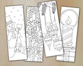 Winter Zentangle Digital Bookmarks zum ausmalen / Lesezeichen Winter und Weihnachten/  printable PDF & JPG / Coloring and relaxing /