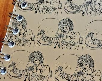 Prince Portrait Print, Handmade Journal, Notebook, Spiral Bound, Kraft, 60 pages, pocket, sketch pad, Depicted in Purple Rain Costume