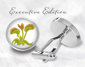 Venus Flytrap Cufflinks - Venus Fly Trap Cufflinks - Plant Cufflinks (Pair) Lifetime Guarantee (S0155)