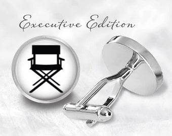 Hollywood Director Cufflinks - Director's Chair Cufflinks - Movie Director Cuff Links - Chair Cufflink (Pair) Lifetime Guarantee (S0156)