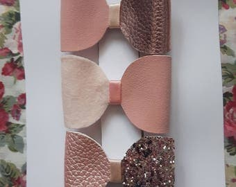 Set of 3 Glitter Rose Gold/Pink hair bows two tone