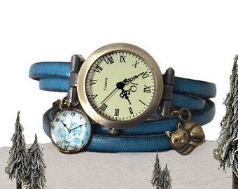 Wrist watch  turquoise leather thong woman or teen