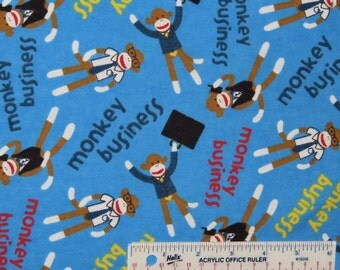 Monkey Business Sock Monkeys Toss Blue Cotton Flannel by Springs Creative, Fabric by the Yard