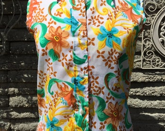 Vintage 70's Floral Blouse * Size Small / Medium