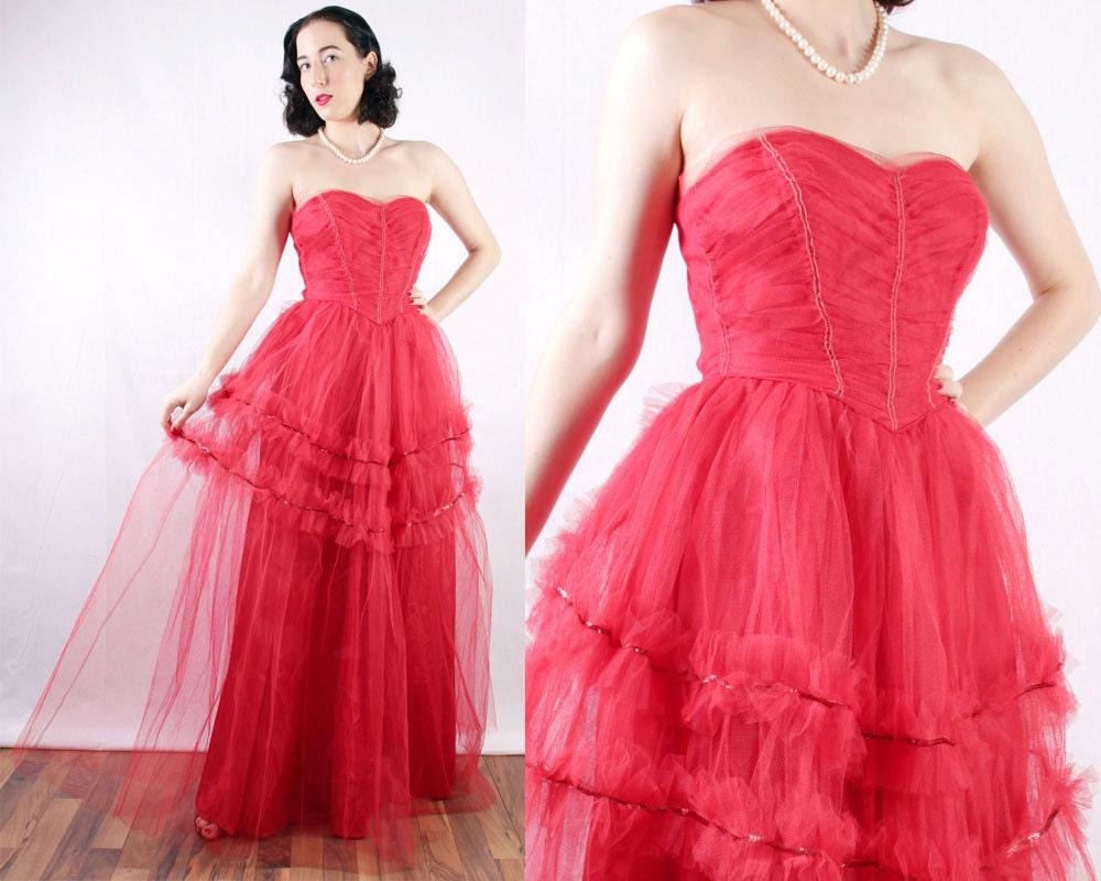 Asombroso Vestido De Fiesta De Los Años Cincuenta Ideas Ornamento ...