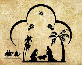 Printable digital nativity scene,digital nativity,manger scene digital,nativity iron on,nativity clipart,digital christmas,holiday prints