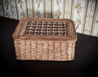 Large brown box made of newspaper, the best gift idea for woman. Handmade, unique and ecofriendly basket made of recycled newspaper