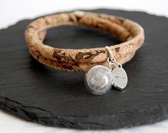 Kork bracelet with reale dandelion