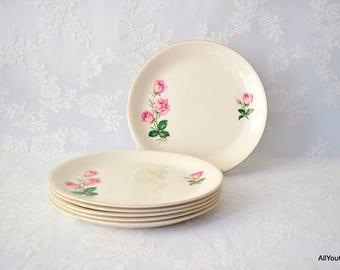 Meakin Dinner Plates, Pink Roses, Vintage Dinner Plates, Vintage Alfred Meakin, c 1950 s