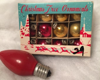 SHIPS FREE!! Set of 12 Vintage Feather Tree Glass Ornaments with Box