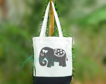 Elephant tote bag 2 size Two tone off-white/black Beach tote bag Market bag
