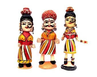 Carved and Painted Indian Wooden Figurine Set
