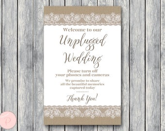 Burlap Lace Unplugged Wedding Sign, Unplugged Ceremony Sign, Printable Wedding Sign, Printable sign, Wedding decoration sign TH79
